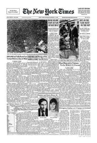 newspaper content articles by woodstock 1969