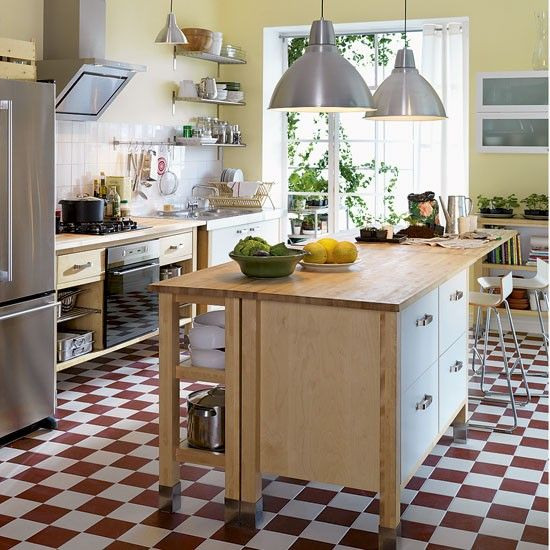 Varde range from IKEA, but I would prefer a more classic floor, perhaps wood or black & white tile