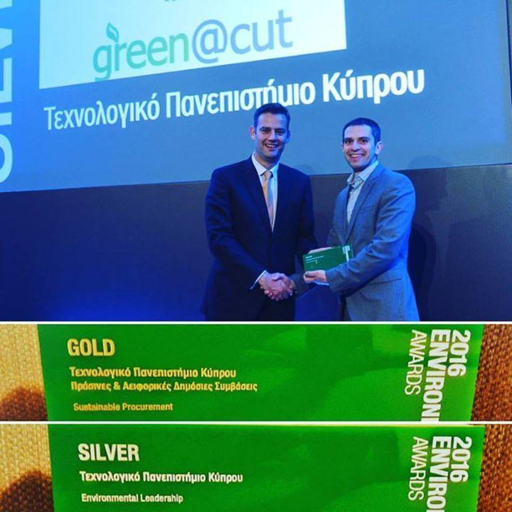 Βράβευση του Τεχνολογικού Πανεπιστημίου Κύπρου με δύο Περιβαλλοντικά Βραβεία μέσα στα πλαίσια των Περιβαλλοντικών Βραβείων 2016 (Environmental Awards 2016). Η τελετή βράβευσης πραγματοποιήθηκε τη Τρίτη 20 Δεκεμβρίου 2016 στην Αθήνα όπου ο συντονιστής του Γραφείο Περιβαλλοντικής Πολιτικής του Πανεπιστημίου (green.cut.ac.cy) και Μηχανικός Ενεργειακών Θεμάτων Ανδρέας Διονυσίου παρέλαβε τα δύο αυτά βραβεία. Τα βραβεία αφορούν τις δύο πιο κάτω κατηγορίες:   Χρυσό Βραβείο στην Ενότητα Human…