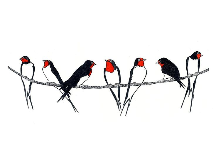 Swallows on Telephone Wire Linocut Print.  Summer swallows! It always lifts my heart when I see the swallows returning for the summer. I love watching them gather together on the telephone wires during the evenings. (scheduled via http://www.tailwindapp.com?utm_source=pinterest&utm_medium=twpin)
