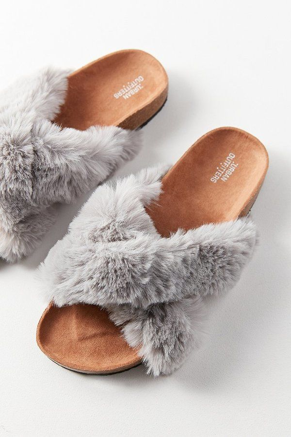 ff5972c375c9 Urban Outfitters Crossed Faux Fur Slide Clogs Shoes