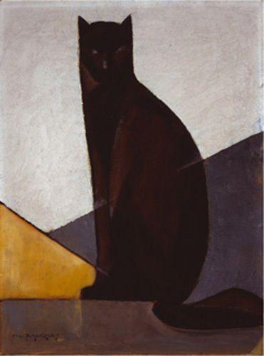 Le chat noir, 1921 Art Print by Marcel-Louis Baugniet - WorldGallery.co.uk
