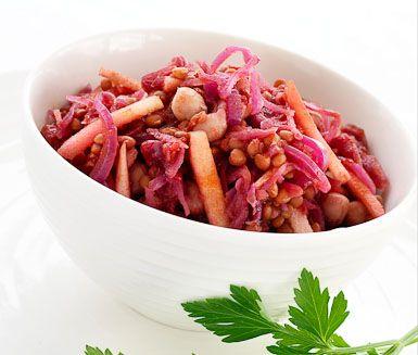 Recept: Rödkålsgryta med bönor och linser