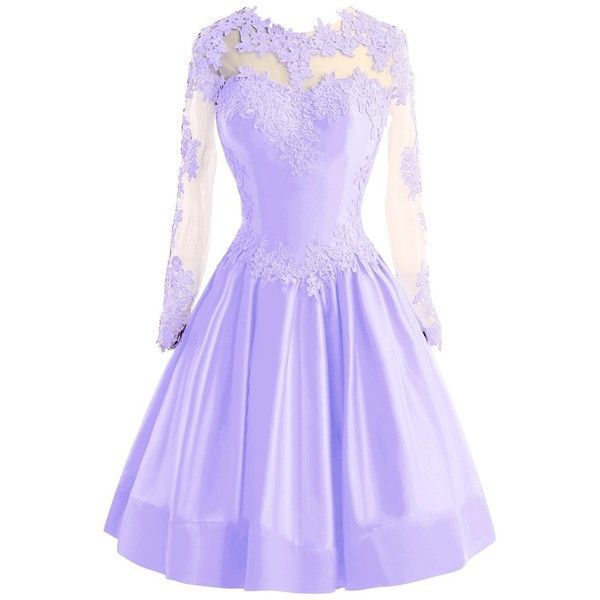 Bess Bridal Women's Sheer Lace Long Sleeve Short Prom Homecoming... ($90) ❤ liked on Polyvore featuring dresses, bridal dresses, prom homecoming dresses, short bride dresses, purple prom dresses and homecoming dresses