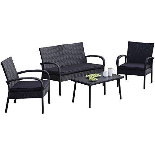Carlota Furniture Patio Furniture Set ideal for Outdoor 4-Piece Modern Look Made of Black Wicker Rattan with Black Detachable Cushions Seats by Carlota Furniture