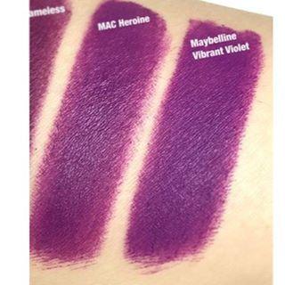 Mac Heroine ~ $17 Maybelline Vibrant Violet ~ $6!! #macheroine #vibrantviolet #lipstickdupe