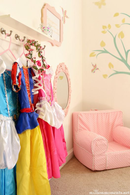 Pick up an assortment of Disney Princess costumes and makeover supplies at Walmart. Organize by Princess and by color in a Princess dress-up station! #DisneyBeauties #ad