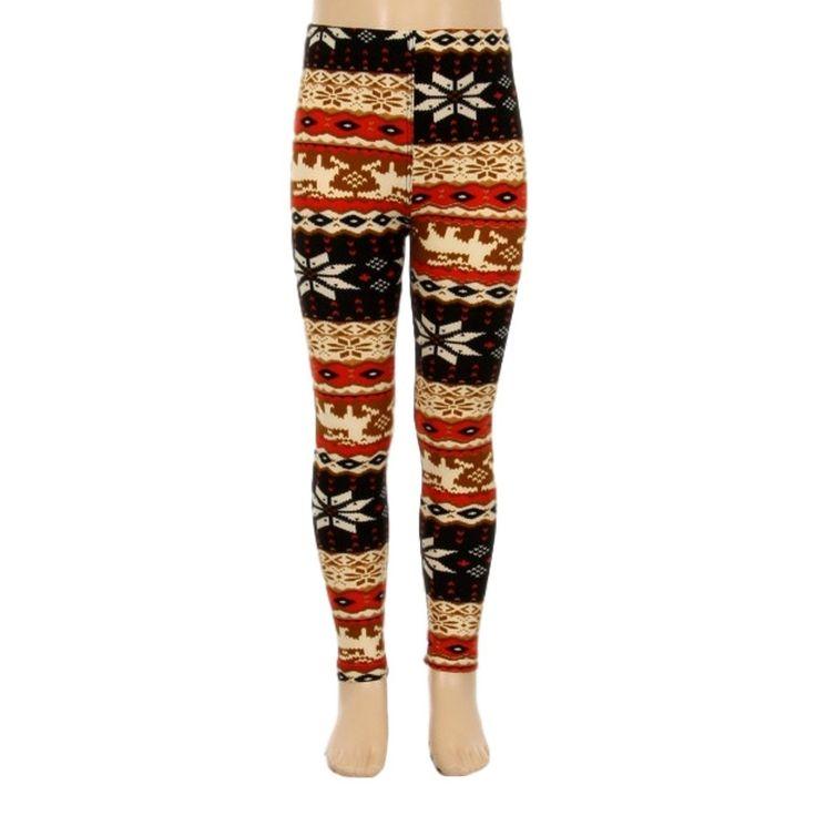 Girls Snowflake Legging, Brown