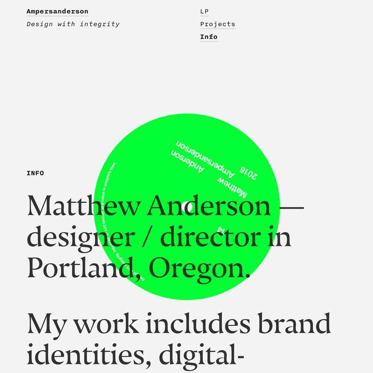 Matthew Anderon's portfolio site, featuring the typefaces Nocturno (serif) and Nitti (sans).