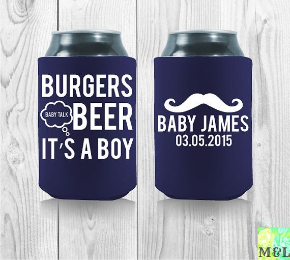 Throwing a super baby bash soon? Count us in! Burgers, Beer and Baby talk is the perfect design for your upcoming celebration!  Perfect koozie for your upcoming baby shower! Choose your favorite colors and tada, let's make koozie magic happen! Burgers Beer And Baby Talk  Baby Shower Koozies by MintandLemon  #babyshowers #babyshowertrends #funkoozies