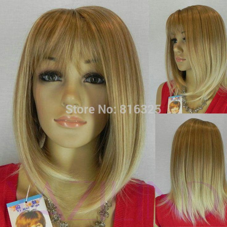 БЕСПЛАТНО P & P> Моде блондинки карие женщины средний прямой fringe полный парик синтетический парик косплей