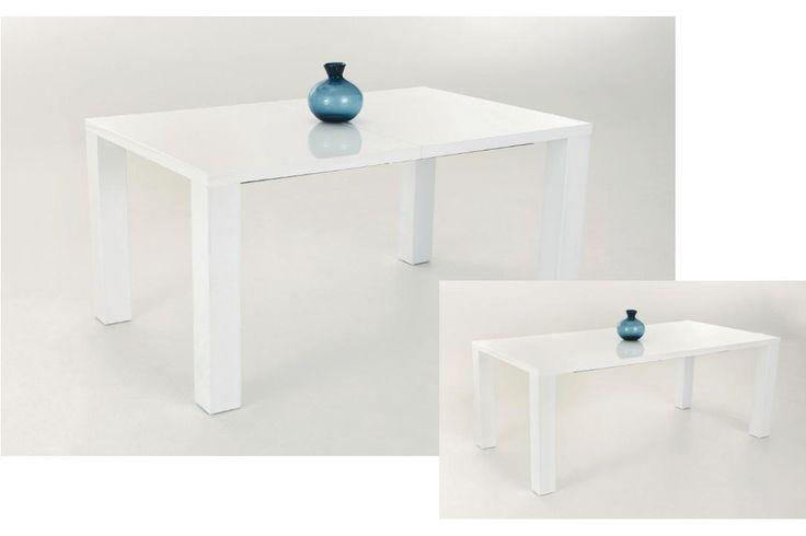 Avola 160 étkezőasztal magasfényű fehér, 160/200x76x90 cm - Basic asztalok - Viktória Bútorház és Webshop
