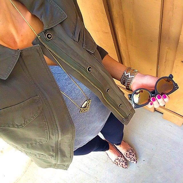 Olive Military/Cargo Jacket + Grey tee + Express Necklace + Black Express skinny jeans + leopard loafers [@ontheDailyX]