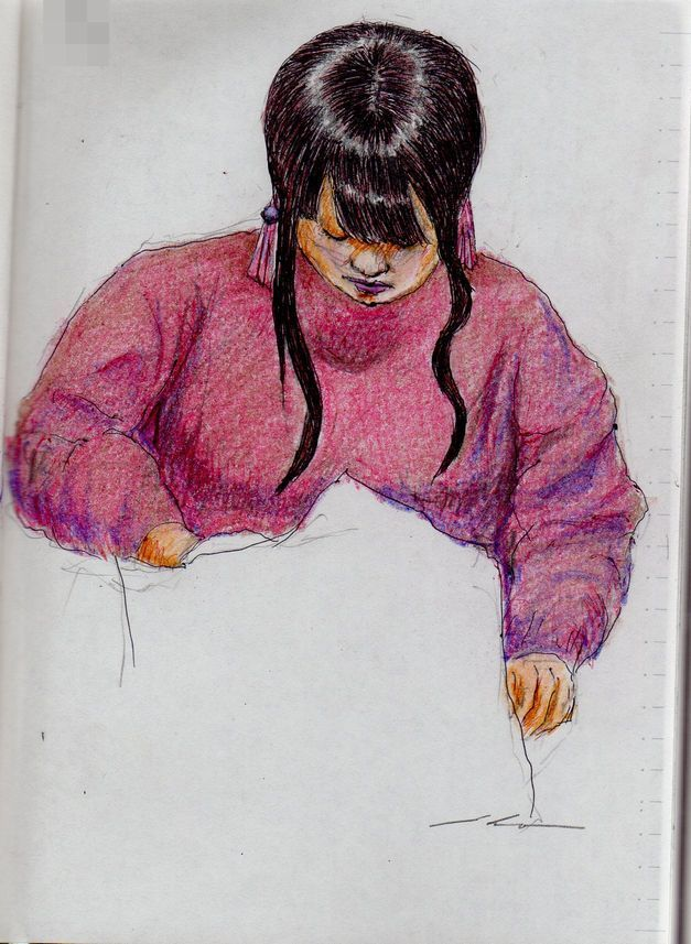 This is a sketch of the lady who put on the maroon sweater I drew in the train.