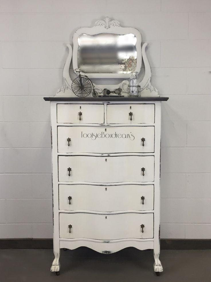 A mirror and bureau antique dresser combo painted
