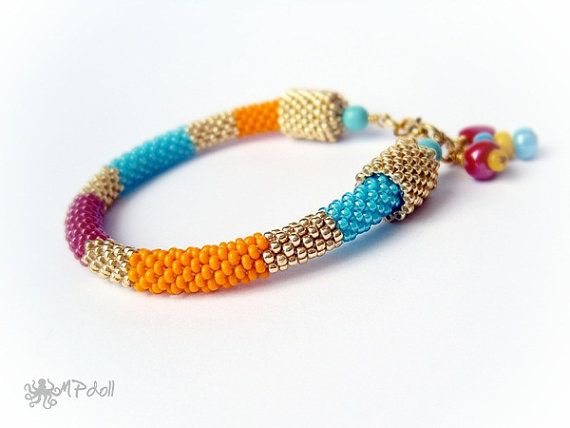 Exotic Vacation  Bead Crochet Bracelet Crochet Rope Beaded