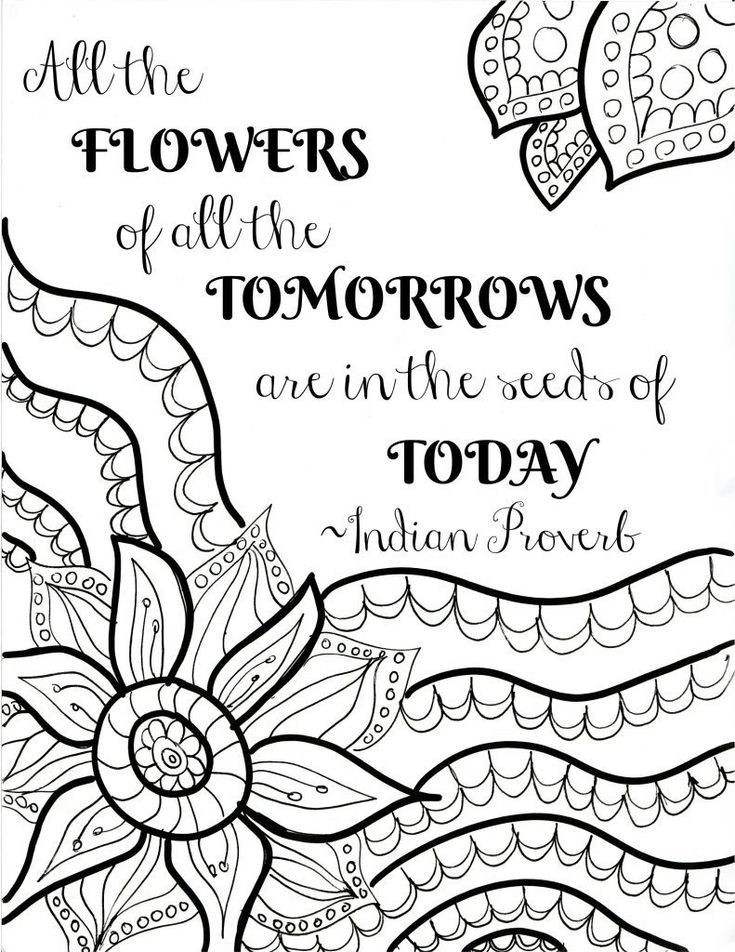FREE Printable Flower Quote Coloring Pages | Quote ... | printable coloring sheets with quotes