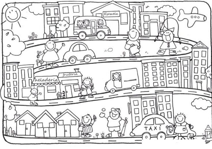 Dibujos de Ciudades para colorear y pintar. Imprimir dibujos de ...