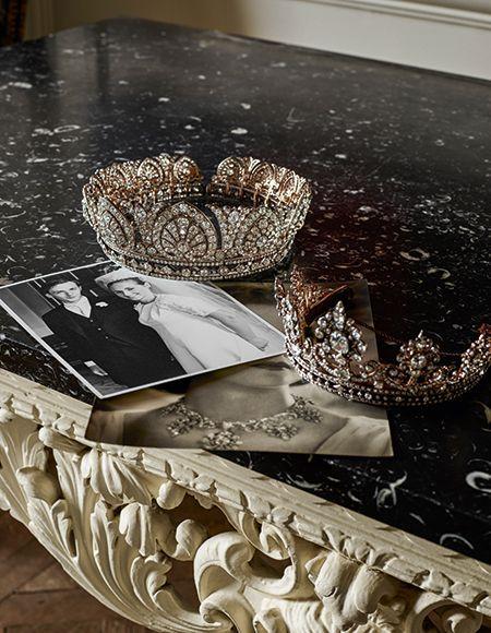Both Devonshire diamond tiaras and a wedding photo of Peregrine and Amanda on their wedding day