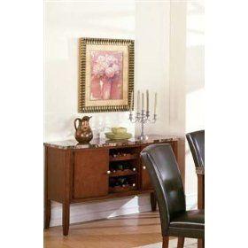Server Sideboard with Wine Rack Dark Brown Finish $376.49