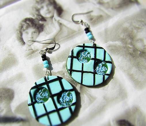 Atelier-Muza / Náušnice kruhy v zelenej