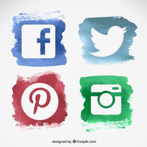 Logotipos de redes sociales de acuarela Vector Gratis