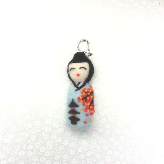 Akiko Needle felted Kokeshi doll keyring. Blue by SweetPeaDolls