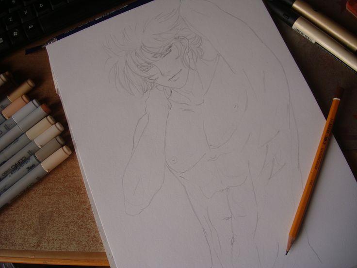 Sexy Seiya pencil sketch (first step)