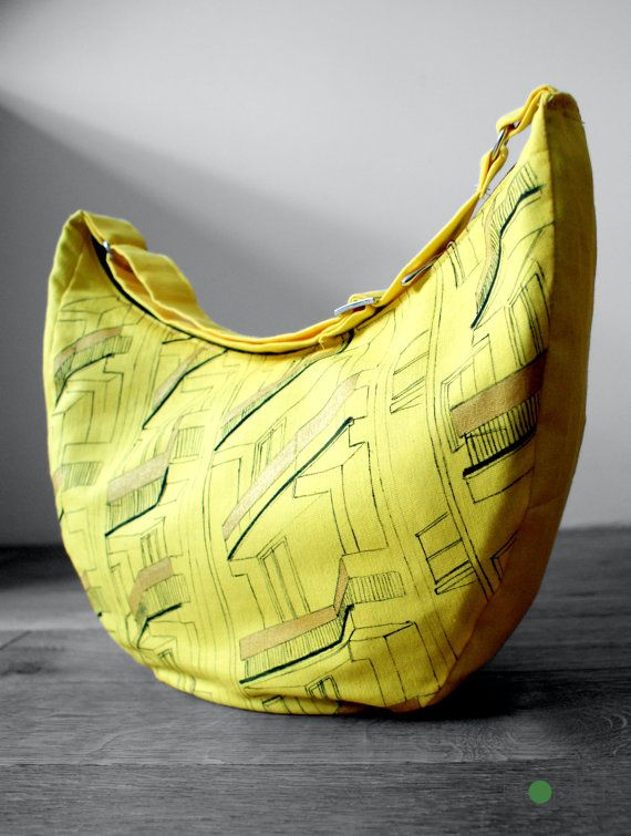 Yellow bike bag Pram bag Handmade Architecture art by KropkaDesign