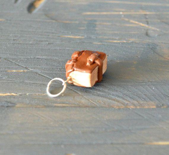 Book Charm, Polymer Clay Book Charm, Bookworm Charm, Clay Book Charm, Book Zipper Charm