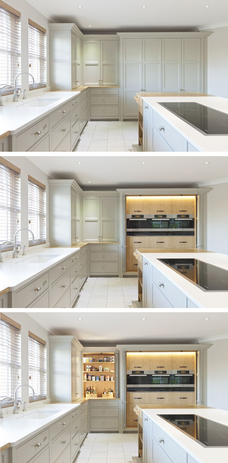 This kitchen is a tranquil clutter free space when not in use. Each appliance has been carefully positioned to be discretely hidden from view. Large folding doors can be pushed back in to the cabinets to easily access the contents, also revealing the grain matched Oak veneer within. The cabinets are handpainted in Farrow and Ball, 'Hardwick White' No. 5, which is complimented with Silestone 'Yukon' worktops.