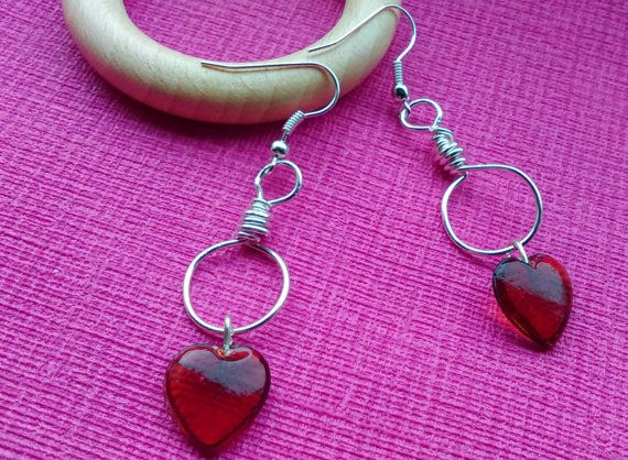 Valentine earrings - red hearts, silver plated wire by Undercover Zebra £5