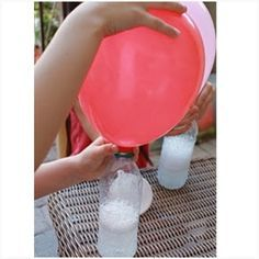 Vinegar and baking soda as a substitute for helium to fill up your balloons.. GENIUS