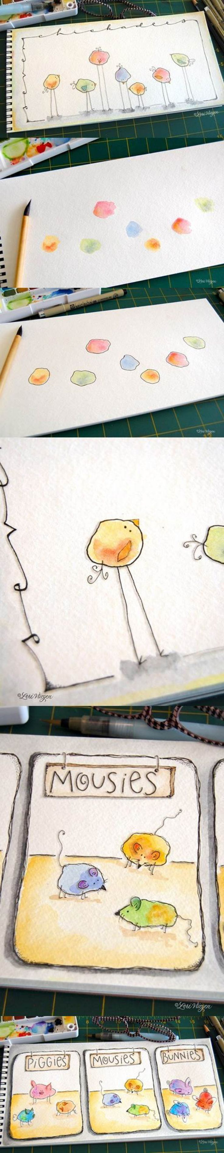 So cute!! Watercolor cartoon animals created with simple paint splotches/shapes.