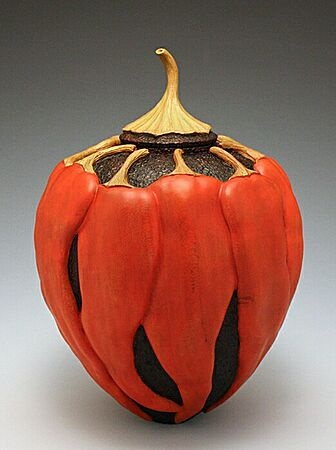 """Dixie Biggs - """"Heat Wave"""" measuring 7.5"""" tall x 5.5"""" diameter, cherry  could be a gourd, clever idea"""