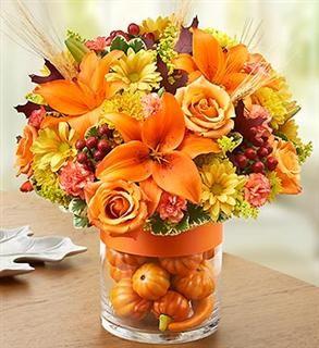 Beautiful Orange Flower Arrangement Inspired By Fall.