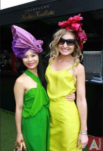 All the #Fun, all the Glamour at the races! Us girls wearing both Natalie Chan dresses and headwear.