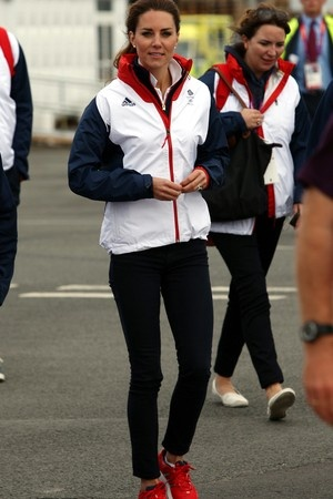 The Duchess of Cambridge,Kate, who sported her Team GB apparel, skinny jeans and Adidas Supernova Glide sneakers,