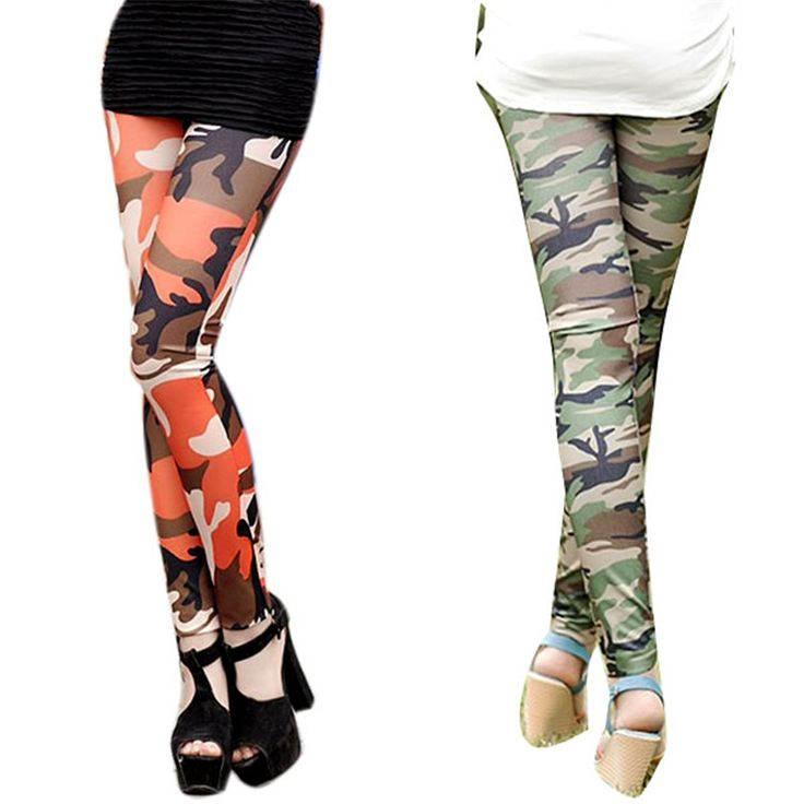 Camouflage Print Stretch Trouser Army Leggings Pants Autumn Women Graffiti Style Pants Female Slim Pants #Affiliate