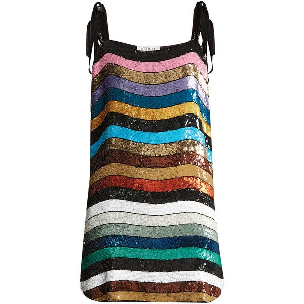 Attico Sabrina striped sequin-embellished mini dress ($1,010) ❤ liked on Polyvore featuring dresses, rainbow striped dress, rainbow dress, knot dresses, sequin dresses and rainbow sequin dress