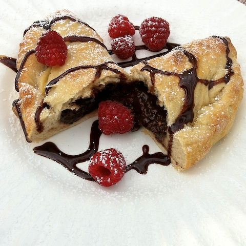 Chocolate Raspberry calzone - I'm craving one right now! #chocolatelove