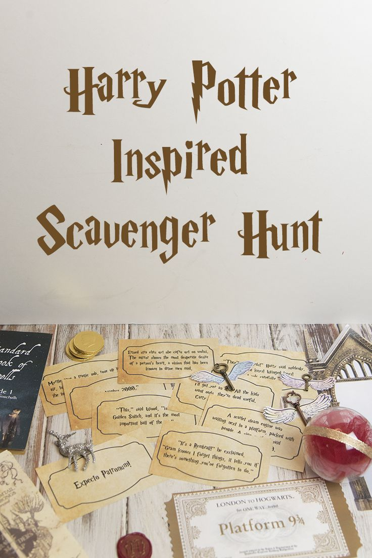 This Harry Potter Scavenger Hunt features quotes from the books and DIY prop replicas for that added touch of magic. via @lizzp