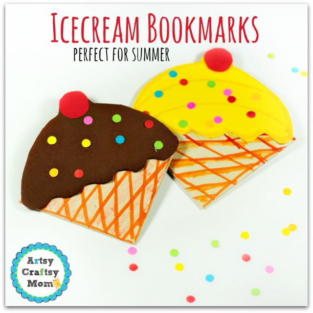 How to make Icecream Bookmarks perfect for summer + icecream corner bookmark 0647 + summer crafts for kids