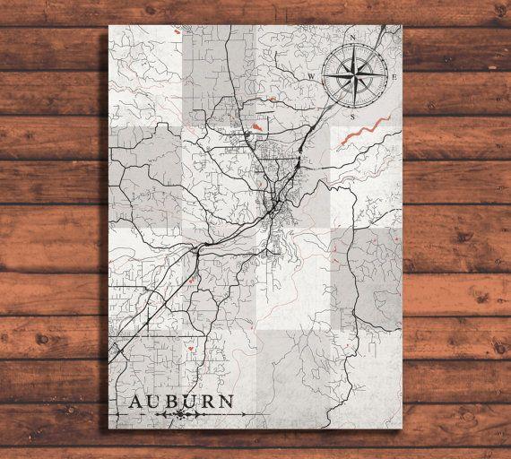 AUBURN California Vintage map Auburn City California Vintage map Print poster retro old antique art Auburn California United States America