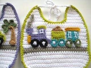 Cute little train bib #crochet: Apply Patterns, Crochet Bibs, Appliquéd Crochet, Crochet Baby, Bibs Pattern, Applique Pattern, Crochet Pattern, Applied Hook, Wall Hook