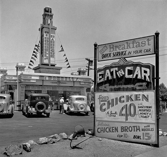 Eat-In car, early drive-in restaurant, Los Angeles, 1935 John Gutmann: