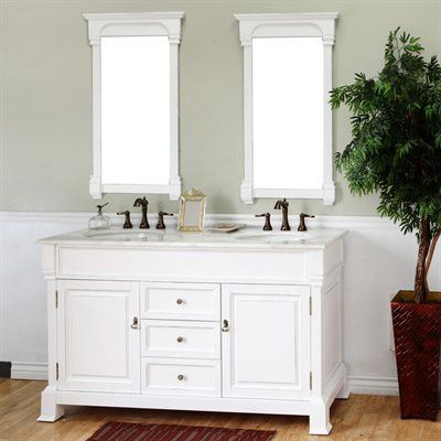 Bellaterra Home 60 inch Double Sink Vanity Set - Base Finish: Wood Cream White
