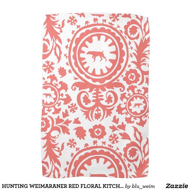HUNTING WEIMARANER RED FLORAL KITCHEN TOWEL