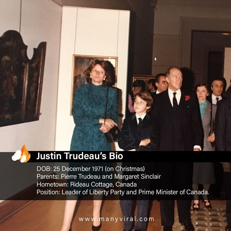 Justin Trudeau at the age of 10 with his parents. His father name is Pierre Trudeau - 15th prime minister of canada