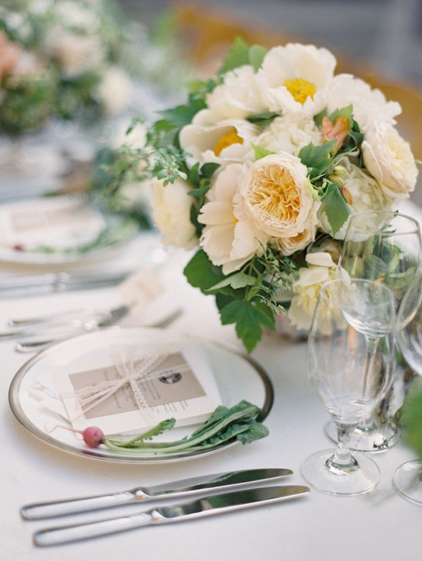 Table top with soft florals